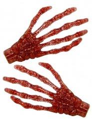 2 Hårspænder skelethånd med pailletter rød 7 cm