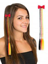 Hårklemme med hårlokker sort, rød og gul