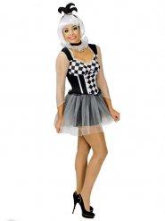 Harlekin klovne kostume sort og hvid kvinde