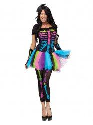 Flerfarvet skelet Halloween kostume kvinde