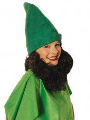 Grøn hue med skæg til voksne
