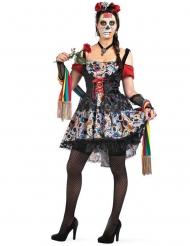 Farvet Dia de los muertos kostume voksen