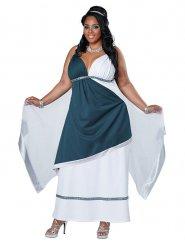 Kostume romersk gudinde blå til kvinder store størrelser