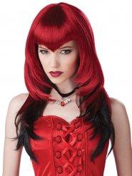 Paryk vampyr gotisk rød og sort til voksne Halloween
