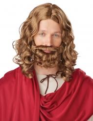 Brun jesus paryk med skæg