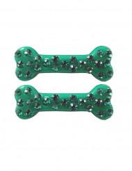 2 Hårspænder med knogle og ædelsten grøn 6 cm