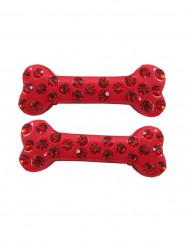 2 Hårspænder med knogle og ædelsten rød 6 cm
