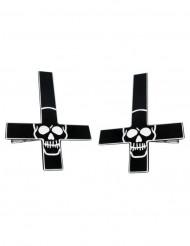 2 Hårspænde kors med kranie
