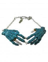 Gotisk halskæde med blå zombie hænder