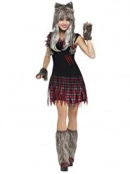Kostume varulv Halloween til kvinder grå/rød