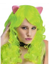 Paryk fantasi neongrøn med katteører
