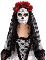 Dia de los Muertos maske med røde roser til Halloween