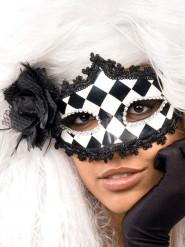 Maske Venetiansk barok harlekin sort hvid sølv