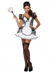 Kostume sexet stuepige sort og hvid til kvinder