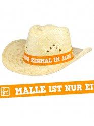 Stråhat til sommerfest med tysk skrift!