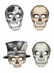 4 karton masker med skeletter Halloween