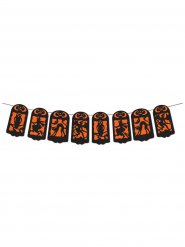 Halloween banner i sort og orange 360x19 cm
