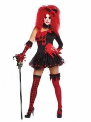 Harlekin Kostume Onde sort og rød til kvinder