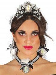 Tiara og smykker prinsesse sort og hvid