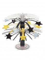 Borddekoration med stjerner i guld sølv og sort 19 cm