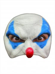 Ond klovnemaske Halloween hvid og blå