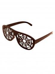 Briller med spindelvæv Halloween brun
