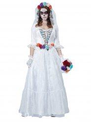 Kostume skelet brud - hvid og multifarvet