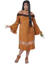 Kostume indianer kvinde store størrelser i brun