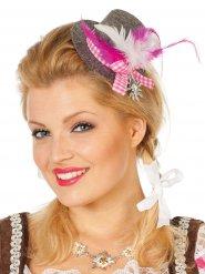 Mini-hat oktoberfest grå og lyserød til kvinder