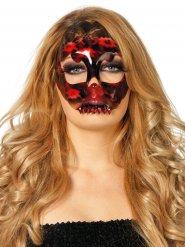 Skelet halvmaske med blonder til Halloween