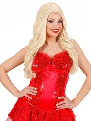 Korset burlesque pailletter i rød