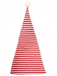 Nissehue rød og hvid stribet med pompon til voksne