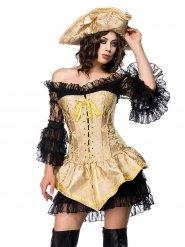 Kostume pirat korset guldfarvet sexet kvinde