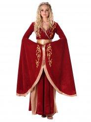 Kostume middelalder dronning rød og guld til kvinder