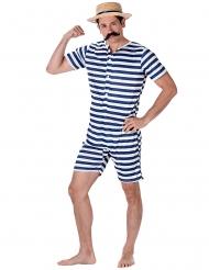 Stribet retro badedragt blå og hvid til mænd