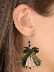 Øreringe grøn sløjfe med skelet hånd