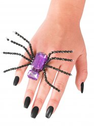Ring med edderkop i lilla Halloween