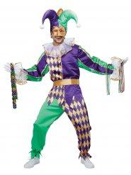 Kostume Harlekin grøn og violet til voksne
