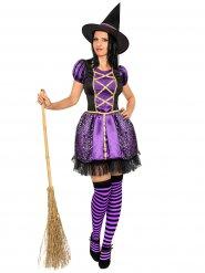 Kostume sort og lilla heks til kvinder Halloween