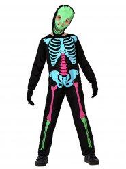 Kostume multifarvet skelet til børn Halloween