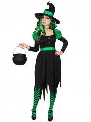 Kostume heks grøn og sort til kvinder Halloween