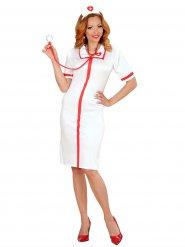 Kostume sexet sygeplejerske i hvid og rød