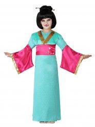 Kostume geisha grøn og lyserød til piger