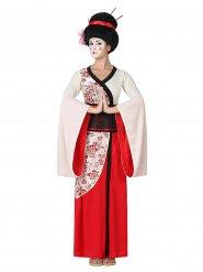 Kostume geisha rød og hvid til kvinder