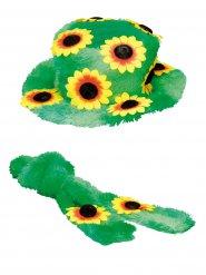 Hat og tørklæde med blomster til voksne