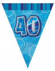 Guirlande blå faner 40 års 2,74m