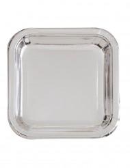 Firkantet sølvfarvet paptallerkener 23 cm