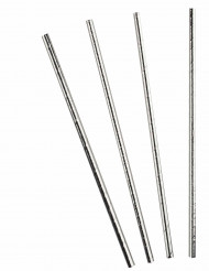 Metallisk sølvfarvet sugerør 10 stk