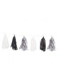 Guirlande med 15 pomponer i sølv, sort og hvid 2,74 cm