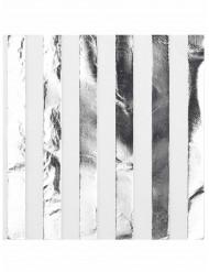 Hvid og sølvfarvet servietter 16 stk